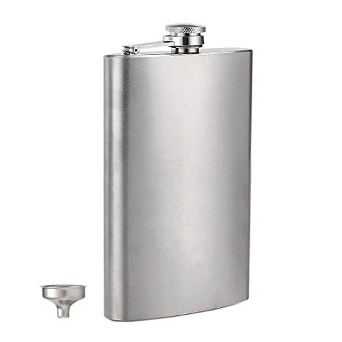 Stainless Flask - Menghao 12oz Hip Flask 304 18/8 Steel Stainless Liquor for Men Drinking of Alcohol Whiskey Gift for Men(Silver),with Funnel
