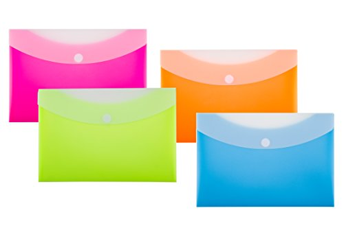 Filexec Products Poly Envelope, EZ Access Velcro Closure, Bright Fluorescent Color, 2 Tone, 2 Pocket, Pack of 4 Assorted (50509-1546)