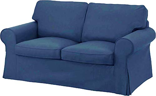 The Dense Cotton Ektorp Loveseat Cover Replacement is Custom Made for IKEA Ektorp Loveseat Sofa Slipcover (Dark Blue)
