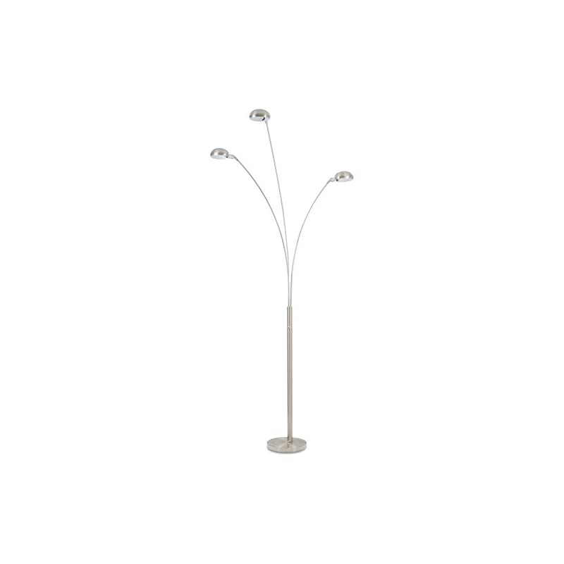 """Revel Insight 94"""" Modern 3-Light Arc Floor Lamp with 4-Way Switch + 18W LED (6W x 3), Energy Efficient, Eco-Friendly, Brushed Nickel Finish"""