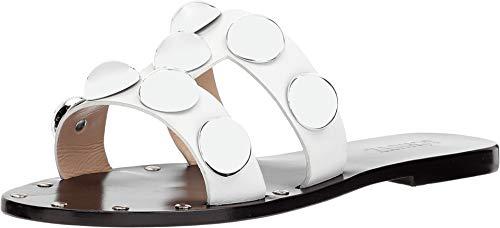 SCHUTZ Women's Benedita Studded Sandals, White, 7.5 M US