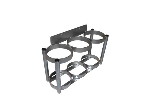 "FWF OXYGEN WALL MOUNT RACK HOLDS 3 (D OR E STYLE) CYLINDERS DIAMETER 4.3"" MADE IN USA"