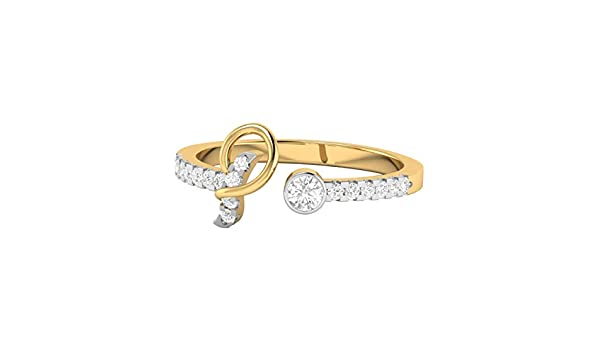 DTJEWELS C Letter Adjustable Ring 0.51 Ct Round Cut Sim Diamond in 14K Yellow Gold Plated Sterling