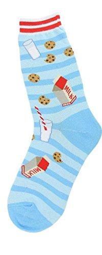Foot Traffic - Women's Food-Themed Socks, Milk & Cookies (Shoe Sizes 4-10)