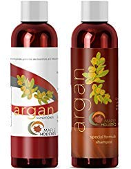Argan Oil Shampoo and Hair Conditioner Set - Argan, Jojoba, Almond Oil, Peach Kernel, Keratin - Sulfate Free - Safe for Color...