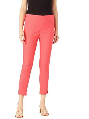 Rangmayee Stretchable Cotton Blend Trouser Pants for Women (Peach)
