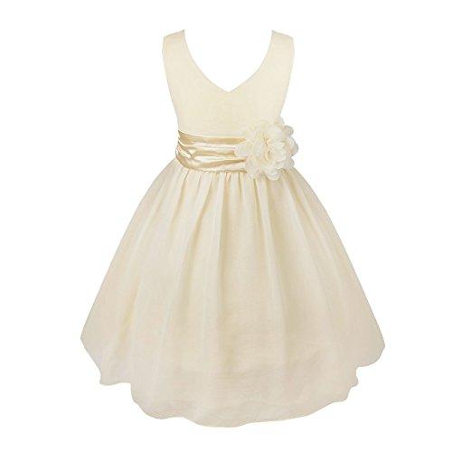 YiZYiF Kids Big Girls Double V Neck Flower Dress Graduation With Sash Cream 4 ()