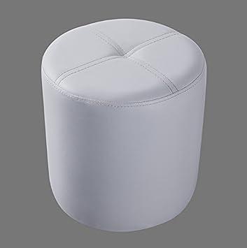 Peachy Kings Brand Furniture Josue Round Ottoman Stool White Vinyl Machost Co Dining Chair Design Ideas Machostcouk