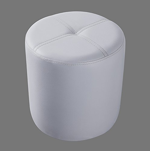Kings Brand Furniture Josue Round Ottoman Stool, White Vinyl