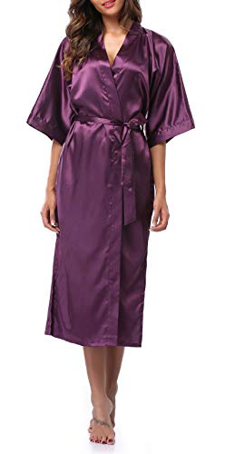 Womens Pure Color Long Satin Bathrobe Kimono Nightgown Long Dress Gown Purple