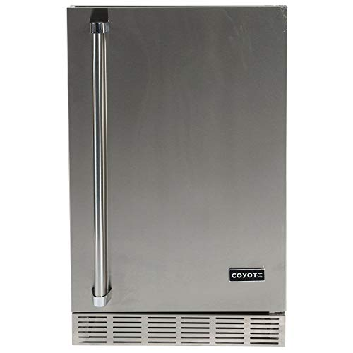 Coyote Outdoor 21 Inch 5.5 Foot Capacity Steel Built In Right Hinge Outdoor Refrigerator, Silver