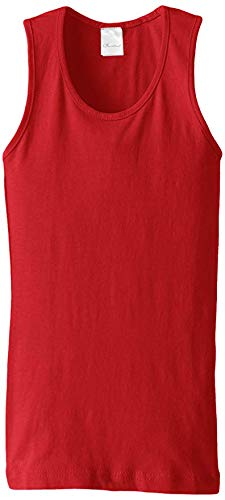 Wide Strap Jersey Tank Top - Clementine Big Girls' Everyday Wide Strap Tank Top, Red, 10/12/Medium