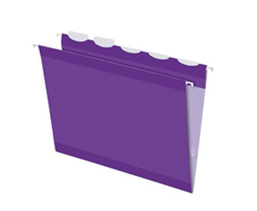 Pendaflex Ready-Tab Reinforced Hanging Folders with Lift Tab Technology, Letter Size, 5-Tab, Violet, 25 per Box (42625) by Pendaflex
