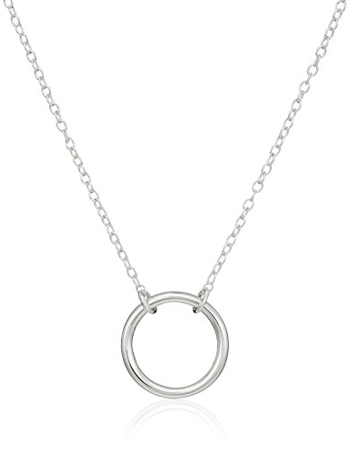 Sterling Silver Stationed Open Circle Pendant Necklace, (Silver Circle Necklace)