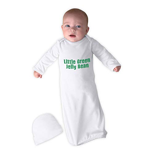 - Cute Rascals Little Green Jelly Bean Long Sleeve Envelope Neck Boys-Girls Cotton Newborn Sleeping Gown One Piece - White, Gown & Hat Set