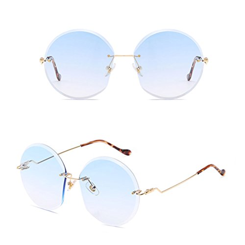green Protection Color Eyeglasses Fashion with Qualité Ocean Metal Case Retro Sunglasses Bonne for Round Zhuhaitf Frame Women 6gwUq