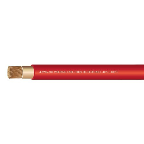 EWCSSPEC RED Made in the USA 50 FEET 4 Gauge Premium Extra Flexible Welding Cable 600 VOLT EWCS Branded
