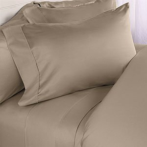 California King Size 1200 Thread Count Solid Taupe Sheet Set 100 % Cotton  4pc Bed Sheet