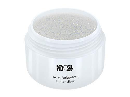 Acryl Farbpulver Glitter silver SILBER - nd24 BESTSELLER - Feinstes FARB Acryl-Puder Acryl-Pulver Acryl-Powder - STUDIO QUALITÄT