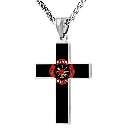- M100% 2018 Firefighter Logo Metal Religious Zinc Alloy Stainless Silver Steel Cross Necklace Holder Pearl Chain Urn Pendants