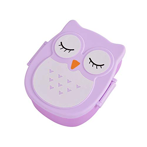 QiCK 900ml Cute Owl Students Lunch Box With Spoon Kids Bento Box Food Container With Compartments Dinnerware Case Storage Box