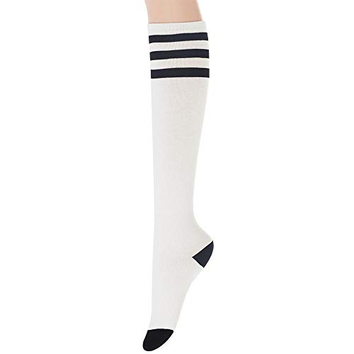 Sockstheway Womens Casual Knee High Tube Socks with Triple Stripes (1Pair, White) ()