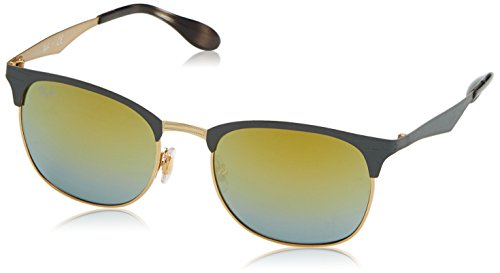 Ray-Ban Metal Unisex Square Sunglasses, Gold/Matte Grey, 53 - Case Ban Ray Display