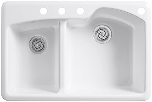 Wheatland Offset Self Rimming Double Kitchen Sink - Faucet M
