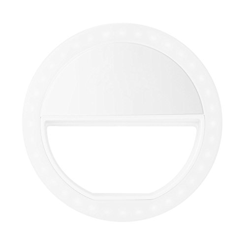 Selfie Ring Light, Portable Rechargeable 3-Level Brightness LED Beauty Fill in Ring Light Portable for Smartphone, Laptop (White) by Genuiskids (Image #1)