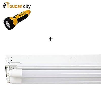 Toucan City LED Flashlight and EnviroLite 4 ft. 2-Light T8 Industrial LED White Strip Light with 1800 Lumen DLC Flex Tubes 3500K ST702T1835