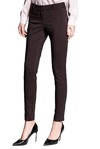 YTUIEKY Womens Dress Pants, Casual Slim Fit Super Stretch Comfy Skinny Career Straight Fit Trouser Leg Pants (Brown, 8) - Nylon Stretch Trousers