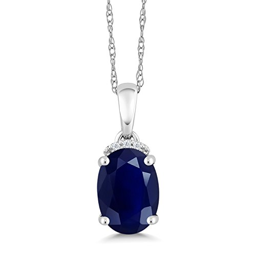 Blue Sapphire and White Diamond 10K White Gold Pendant Necklace 2.52 Ct Oval with 18 Inch Chain - 10k White Gold Pendant Necklace