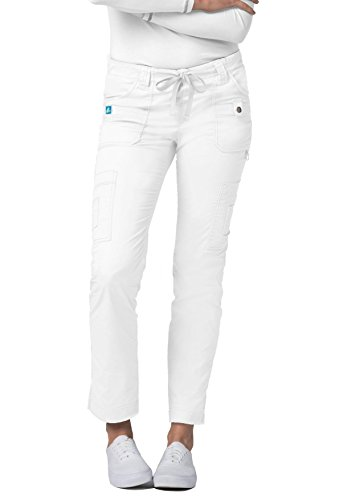 Rise Slim Women Pants - Adar Pop-Stretch Jr. Fit Low-Rise 11-Pocket Slim Cargo Pants - 3108 -White - L