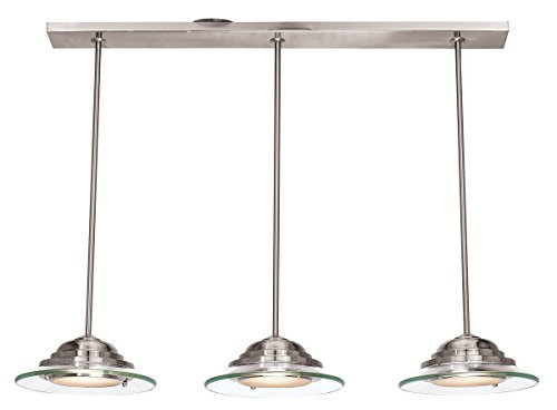 Access Lighting 50443LED-BS/8CL Phoebe LED Light Bar Pendant with 8mm Clear Glass Shade, Brushed Steel Finish by Access - Phoebe Glasses