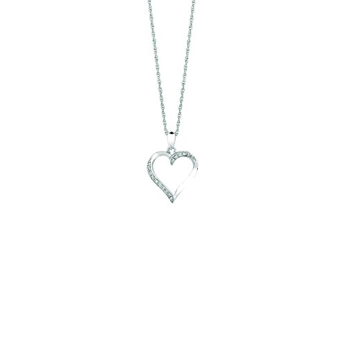Sterling Silver White 18 Inch Polish Rohdium Finish Diamond Open Heart Necklace (ctw-0.05)