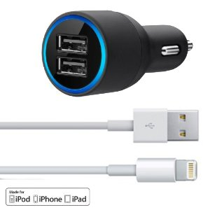 -Sale-Over-60-Off--GemRay-Premium-Apple-iPhone-6-Car-Charger--High-Power-Lightning-Lead-Included-Free--High-Peformance-Safe-Rapid-20-Amps-Charging-Power--Charge-Two-Devices-At-The-Same-Time--For-iPhon