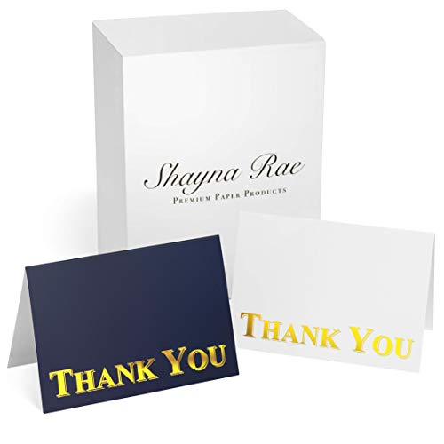 100 Thank You Notes With Peel and Seal Envelopes - Simple and Professional Navy Blue, White & Gold Thank You Cards With Envelopes - Perfect For Business, Wedding, Funeral, Graduation, Baby Shower