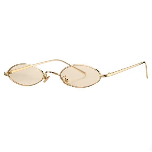 Vintage Small Oval Sunglasses for Women Men Hippie Cool Metal Frame Sun Glasses (Gold Frame/Amber ()
