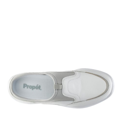 Propet Womens Wash and Wear Pro Slide Leather, EVA, Rubber Sneakers White