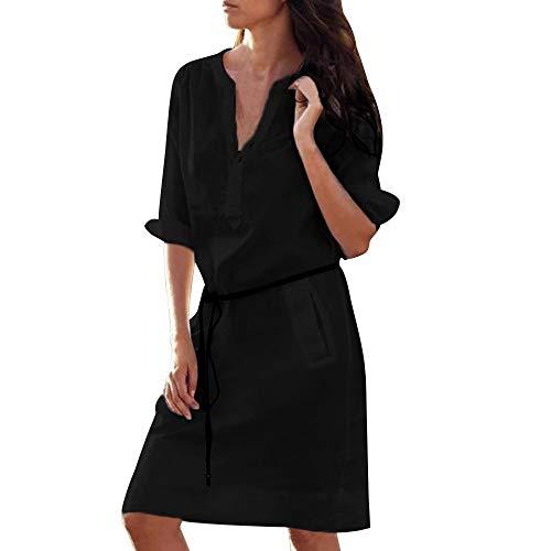 (kaifongfu Women Casual Maxi Dresses V Neck Slim Long Sleeve Slim Pocket Shirt (Black,S))