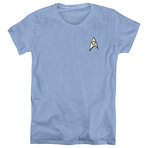 Star Trek Science Uniform Women's T Shirt, Small Carolina Blue -