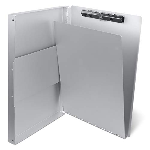 Aluminum Clipboard with Storage Form Holder Portfolio Aluminum Metal Binder Heavy Duty with High Capacity Clip Posse Box -13x9x1 inch Size Clipboard for Office Business Professionals Stationer