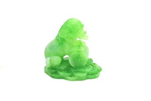 Jade Horse Statue (2018 Chinese year of dog Horoscope Chinese Zodiac Handmade jade Color Resin Dog With Coin Collectible statue Figurine Sculpture)