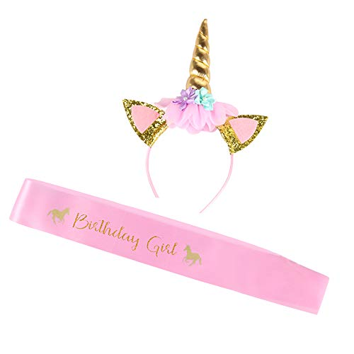 YOUTH UNION Unicorn Headband and Birthday Girl Satin Sash Set, Gold Glitter Unicorn Horn with 20Pcs Balloons for Girls Birthday Party