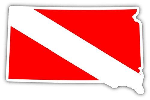 [South Dakota State Shaped Scuba Diver Scuba Diving Dive Down Flag Bumper Sticker Decal Car Window Stickers 3x5 in] (Dakota State Flag Decal)