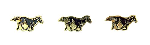 Mustang School Mascot Gold Toned with Enamel Lapel Pin, Pack of 3