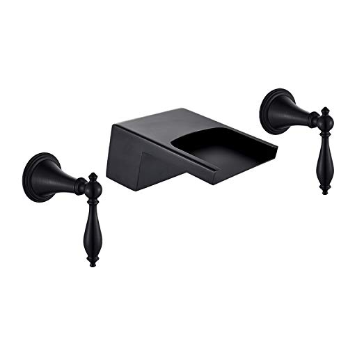 Senlesen Oil Rubbed Bronze 3 Holes Waterfall Bathtub Faucet Dual Handles Sink Mixer Tap Wall Mounted