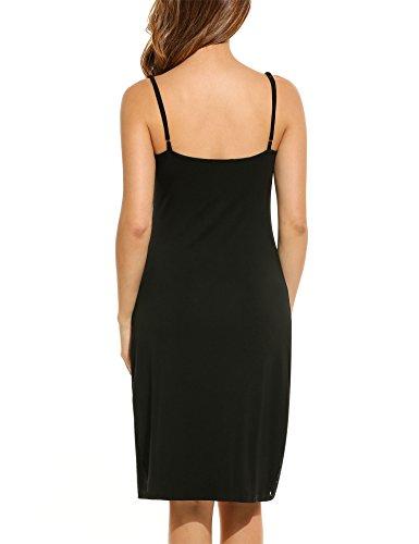 408f6ceab64 Hotouch Slips Womens Slip Long Spaghetti Strap Full Cami Slip Camisole  Under Slips for Dresses Black