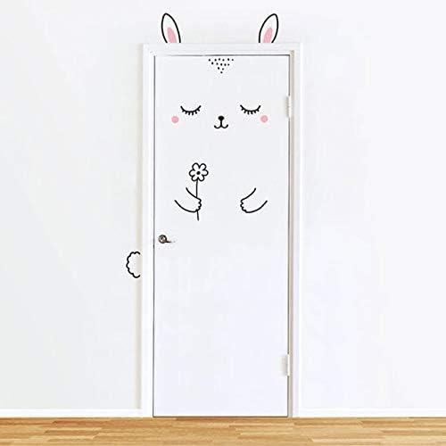 Animales Panda Conejo Pegatinas de pared para habitaciones de niños Puerta Decoración para el hogar Pegatina Refrigerador Extraíble Art Poster 80x200cm