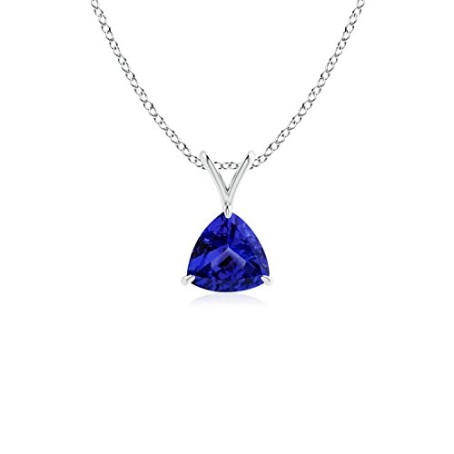 Claw-Set Trillion Tanzanite V-Bale Pendant in 14K White Gold (5mm Tanzanite)